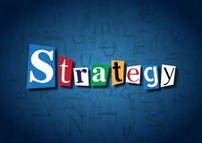 The word Strategy made from cutout letters. On a blue background Stock Photo