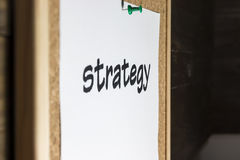 Word strategy. Pinned on cork board Royalty Free Stock Photography