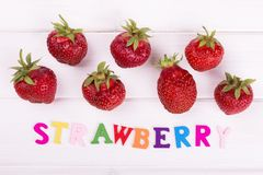 The word strawberry and berries Royalty Free Stock Image