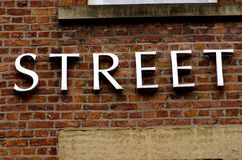 Word street on red brick wall in  London. Stock Photography