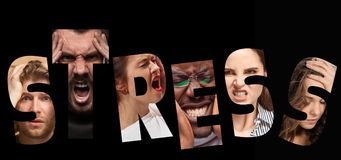 Word stress composed of anxious worried stressed faces of men and women. On black. The collage of faces of angry, screaming, sad people. Human emotions, facial Royalty Free Stock Photography