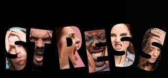 Word stress composed of anxious worried stressed faces of men and women. On black. The collage of faces of angry, screaming, sad people. Human emotions, facial Stock Image
