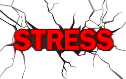 Word stress in red color with cracks over white. 3D image royalty free illustration