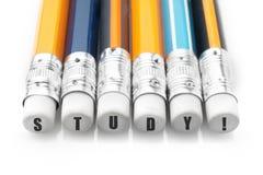 Word studie over potloden Het onderwijs en leert Concept royalty-vrije stock afbeeldingen
