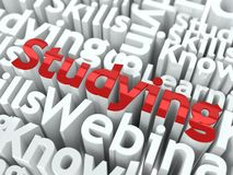 Word Studying Located on other Words. Royalty Free Stock Photography