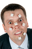 Word STUPID vylodennoe buttons on the face Stock Photo