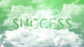 Word SUCCES dans les nuages, couleurs vertes de ciel illustration libre de droits
