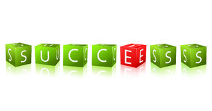 Word success combines of cubes with letter Stock Images