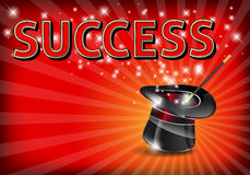 The word SUCCESS on glowing background with magic hat and wand Stock Image