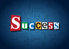 The word Success made from cutout letters. On a blue background Stock Photos