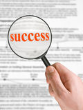 Word Success, magnifying glass Royalty Free Stock Photography