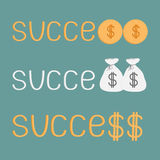 Word success and money bags, coins and dollar sign. Royalty Free Stock Photography