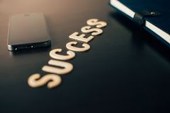 Word success put on table office. Success concept  word success put on table office Royalty Free Stock Image
