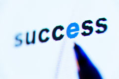 Word success on screen Royalty Free Stock Photos