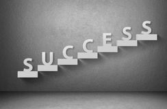 Word success on staircase on grey background Royalty Free Stock Photo