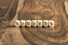 Word SUCCESS on wooden cubes Royalty Free Stock Images