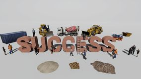 Word success and the workers who work on it stock images