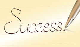 Word Success written by pen. On ochre paper royalty free illustration