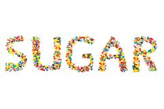 Word sugar written with candies Royalty Free Stock Image