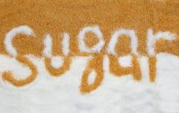 The word sugar written into a pile  sugar Royalty Free Stock Photos