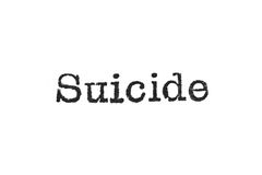The word `Suicide` from a typewriter on white. The word `Suicide` from a typewriter on a white background Royalty Free Stock Image