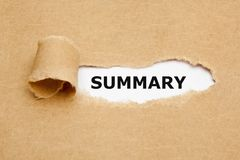 Summary Ripped Brown Paper Concept. The word Summary appearing behind torn brown paper Royalty Free Stock Images
