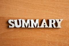 The word summary stock photography