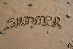 Word summer on a beach Stock Photos