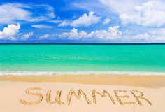 Word Summer on beach Royalty Free Stock Images