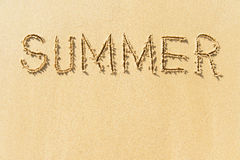 Word summer on beach Royalty Free Stock Photos
