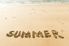 Word summer on beach Stock Image
