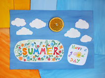 Word Summer on child applique, positive summer concept. Word Summer on child applique, summer concept Stock Image