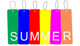 Word Summer in colorful hanging tags Stock Photography