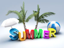 Word summer with colourful letter 3D Illustration Stock Images