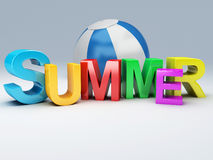 Word summer with colourful letter 3D Illustration Royalty Free Stock Photos