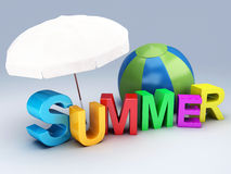 Word summer with colourful letter 3D Illustration Royalty Free Stock Images