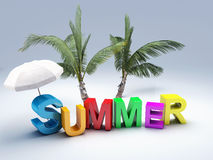 Word summer with colourful letter 3D Illustration Royalty Free Stock Photography