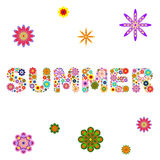 Word SUMMER composed of vector flowers on a white square Royalty Free Stock Images