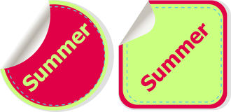 Word summer concept on button. Banner, web button or message for online web site Stock Photos
