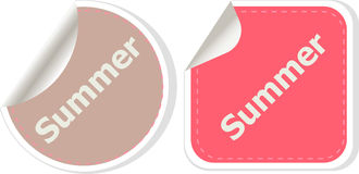 Word summer concept on button. Banner, web button or message for online web site, presentation or application Stock Photo