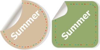 Word summer concept on button. Banner, web button or message for online web site, presentation or application Stock Photos