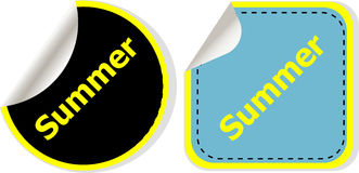 Word summer concept on button. Banner Stock Images