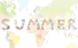 Word SUMMER created with passport stamps on world map background, travel concept.  stock illustration