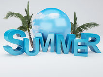 Word summer 3D Illustration Stock Images