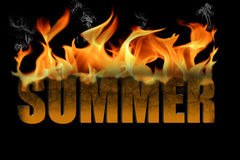 Word Summer in Fire Text Royalty Free Stock Photos