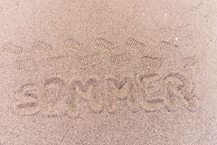 Word summer in german written on the beach. Word summer Sommer in german written on the beach Royalty Free Stock Photography
