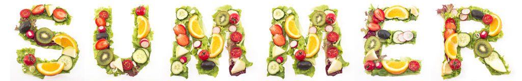 Word Summer Made of Salad and Fruits Stock Image