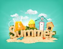 The word Summer made of sand on tropical island. Unusual 3d illustration of summer vacation vector illustration