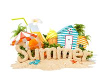 The word Summer made of sand on tropical island. Unusual 3d illustration of summer vacation. The word Summer made of sand on a tropical island. Unusual 3d stock illustration
