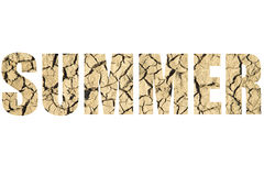 Word SUMMER over natural background of dry cracked land Royalty Free Stock Image
